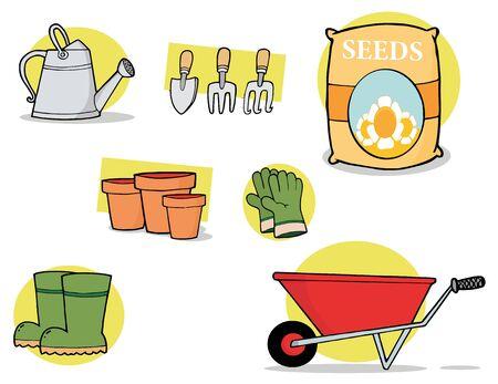 watering pot:  Digital Collage Of Garden Tools Stock Photo