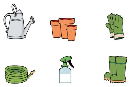 Digitale collage een gieter, potten, hand schoenen, een slang, Spray Bottle en Boots  Stockfoto