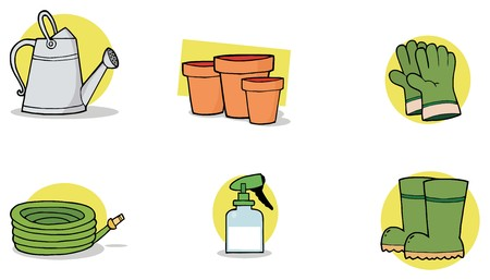Digital Collage Of A Watering Can, Pots, Gloves, A Hose, Spray Bottle And Boots