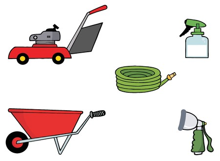 landscaping: Digital Collage Of A Lawn Mower, Wheel Barrow, Hose, Spray Bottle And Nozzle Stock Photo