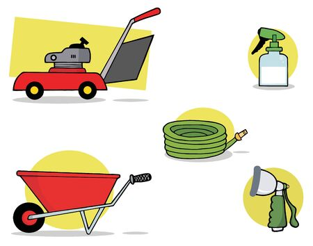 mowers: Digital Collage Of A Lawnmower, Wheel Barrow, Hose, Spray Bottle And Nozzle Stock Photo