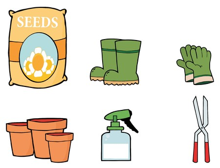 Digital Collage Of Flower Seeds, Boots, Gloves, Pots, A Spray Bottle And Pruners Stock Photo - 7054155