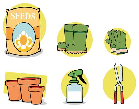Digital Collage Of Seeds, Boots, Gloves, Pots, A Spray Bottle And Pruners Stock Photo - 7054183