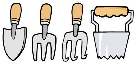 handled: Digital Collage Of Wood Handled Gardening Tools