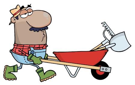 ヒスパニック系の男性庭師熊手を押すと、手押し車でシャベル 写真素材 - 7054236