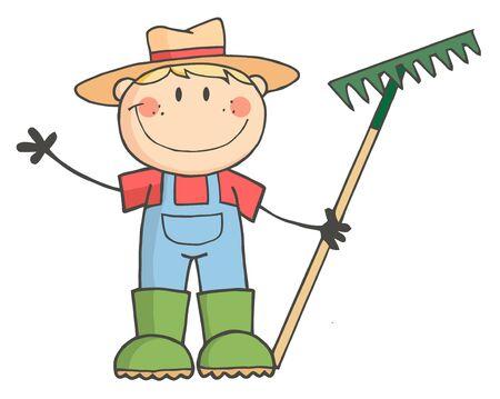Caucasian Farmer Boy Holding A Rake And Waving