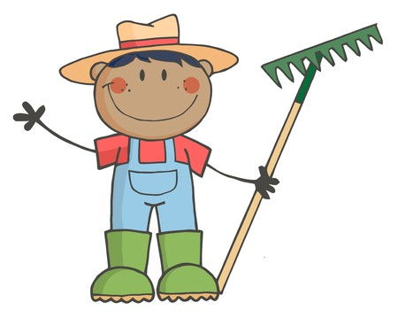 Black Farmer Boy Holding A Rake And Waving photo