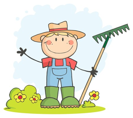 Blanke boeren jongen Waving en holding een rake  Stockfoto