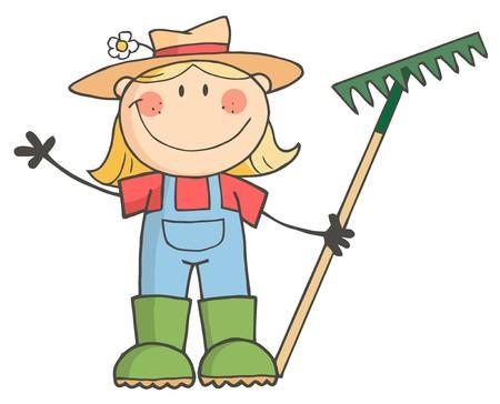 rakes: Caucasian Farmer Girl Holding A Rake And Waving