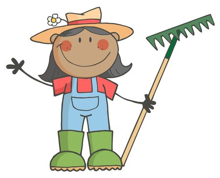 Black Farmer Girl Waving And Holding A Rake photo