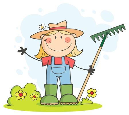 Blanke boeren meisje Waving en holding een rake  Stockfoto