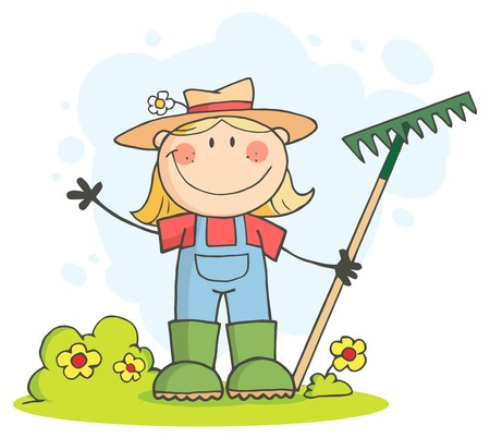 Caucasian Farmer Girl Waving And Holding A Rake photo