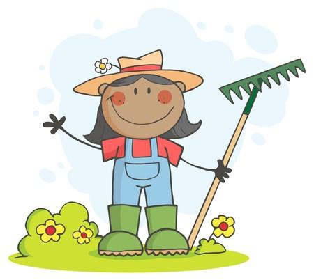 gardeners: Black Farmer Girl Waving And Holding A Rake