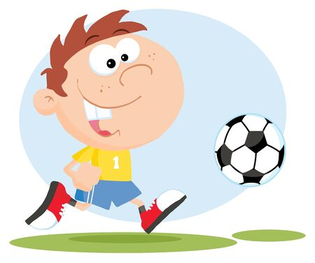 soccer stadium: Happy Soccer Boy With Ball