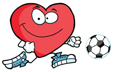 soccer field: Cartoon Red Heart Playing With Soccer Ball