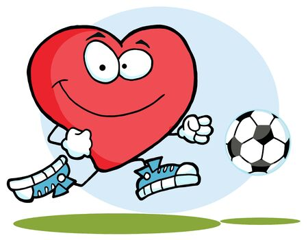 sports equipment: Red Heart Playing With Soccer Ball