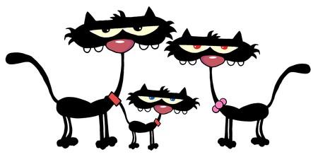black family: Family Black Cats  Stock Photo