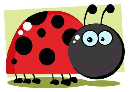 Ladybug Cartoon Character With Background  Zdjęcie Seryjne