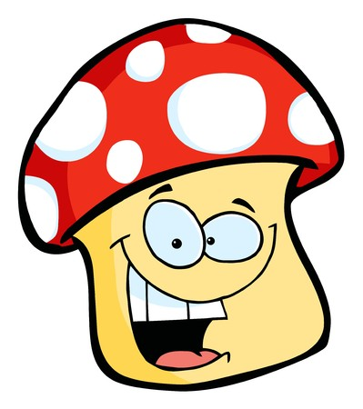 family isolated: Smiling Mushroom Cartoon Character