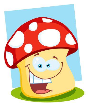 food poison: Smiling Mushroom Illustration  Stock Photo