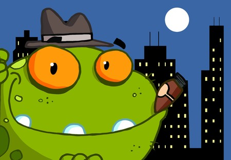 Mobster Frog Cartoon Character  photo