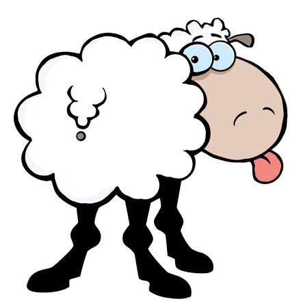 stock clipart icons: Funky Sheep Sticking Out His Tongue