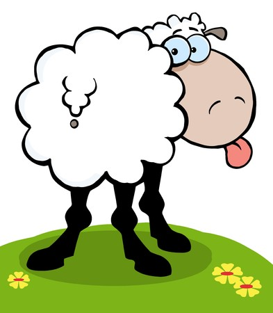 Cartoon Sheep Sticking Out His Tongue  Zdjęcie Seryjne