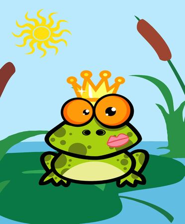 pad  lily: Illustration Of Frog Prince  Stock Photo