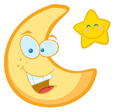 Moon And Star Cartoon Characters  Stock Photo - 7116778