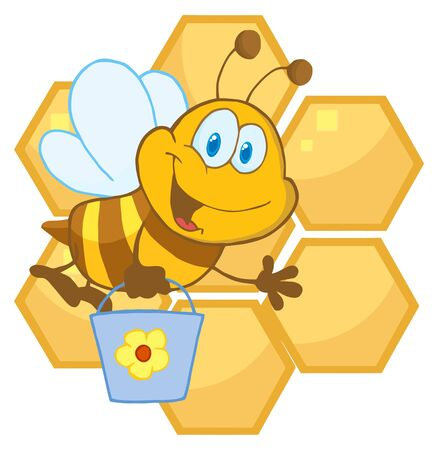 Bee Cartoon Character In Front Of A Orange Bee Hives  photo