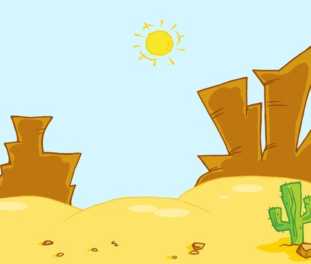 cartoon: Western Landscape Illustration