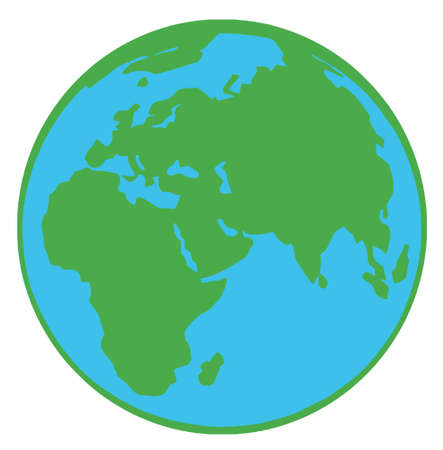 illustrated globe: Round Green And Blue World Globe