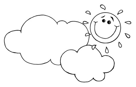 Outlined Smiling Sun Behind Cloud Cartoon Character  Vector