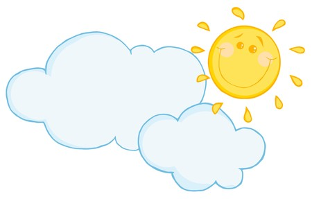 cloud: Smiling Sun Behind Cloud Cartoon Character  Illustration