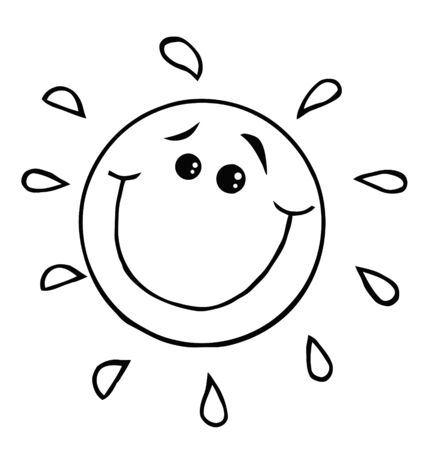 smiling sun: Outlined Smiling Sun Cartoon Character