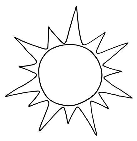 Outlined Summer Sun Vector