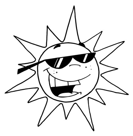 coloring pages: Outline Of A Cool Sun Character