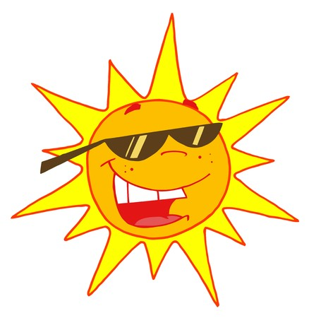 Hot Sun Cartoon Character  Stock Illustratie