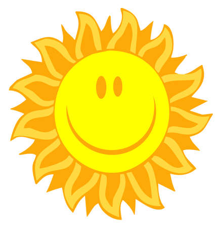 sun tan: Cartoon Illustrations Of Smiling Sun
