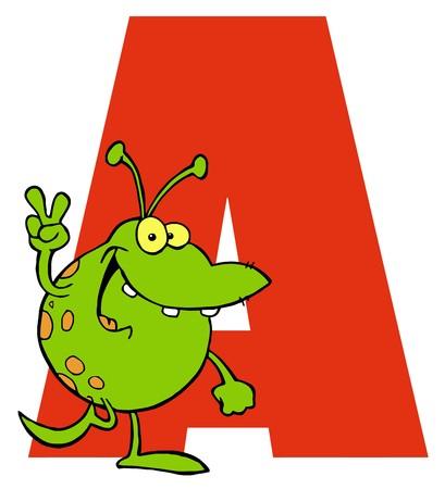 Funny Cartoons Alphabet-A  Illusztráció