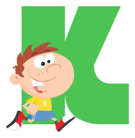 Funny Cartoons Alphabet-K  Vector