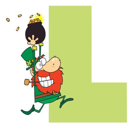 Funny Cartoons Alphabet-L  Ilustrace