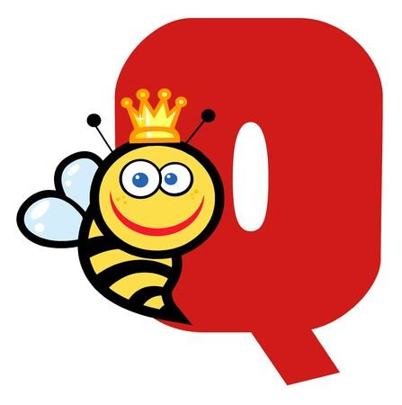 Funny Cartoons Alphabet-Q  Vector