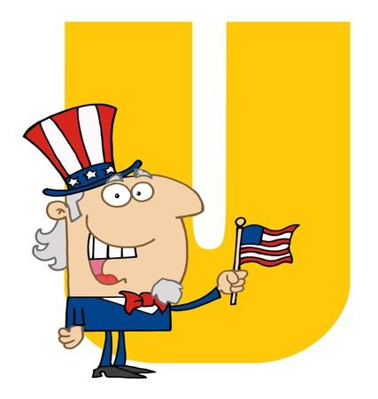 Funny Cartoons Alphabet-U  Stock Vector - 7260355