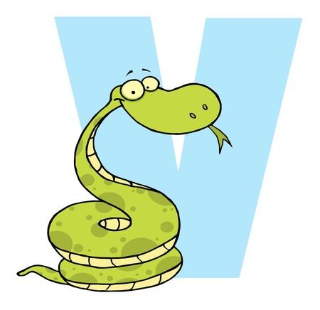 Funny Cartoons Alphabet-V  Иллюстрация
