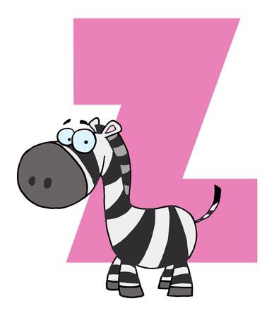 Funny Cartoons Alphabet-Z  Vector