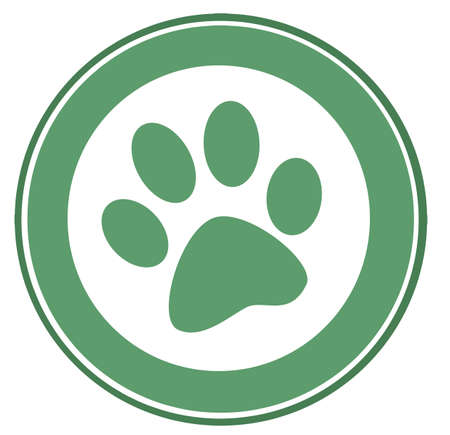 Green Paw Print Banner Stock Vector - 7260329