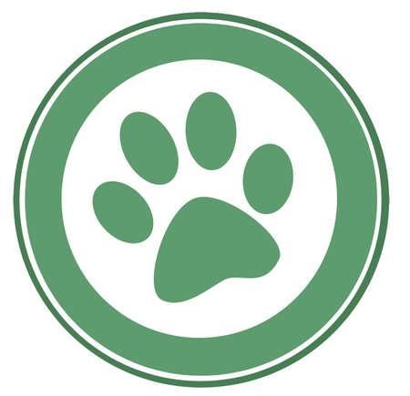 cartoon dog: Green Paw Print Banner