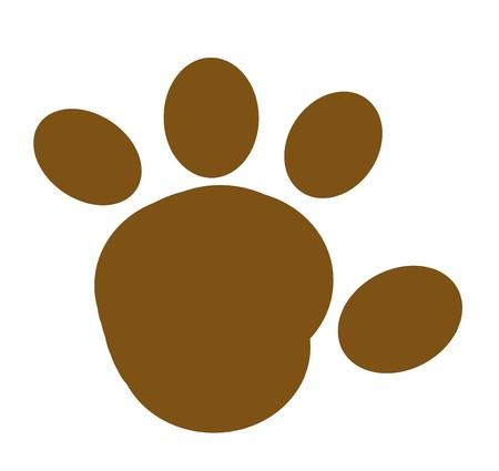 huellas de animales: Impresi�n de Paw redondeado marr�n