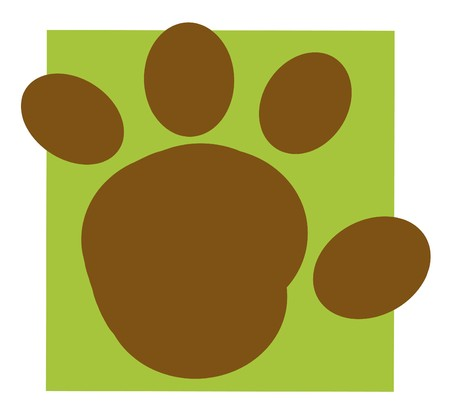 animal tracks: Brown Rounded Paw Print On A Green Box